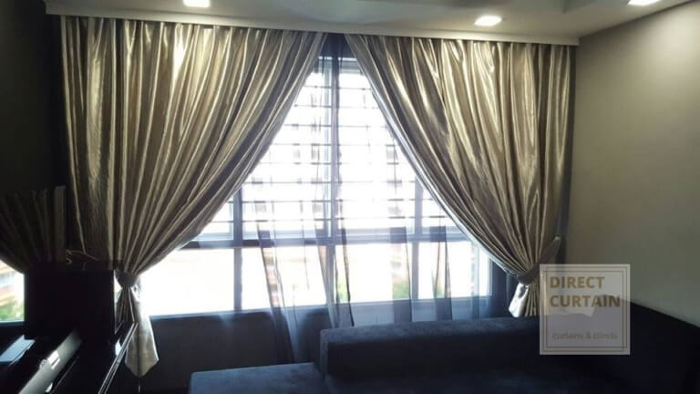 Silver night curtains and black sheer day curtains