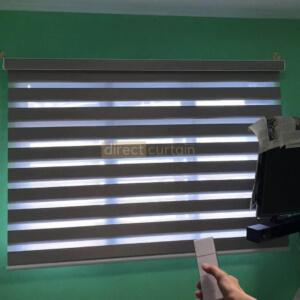Korean Combi Blind – Oxford Pavillion Grey Brown SKU KBBO802 opened half