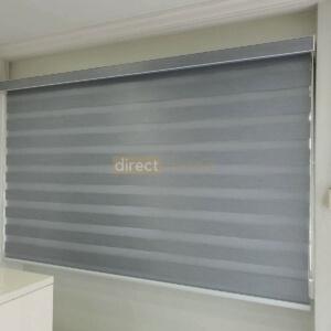 Zebra Blind – Blackout Oxford Grey Closed