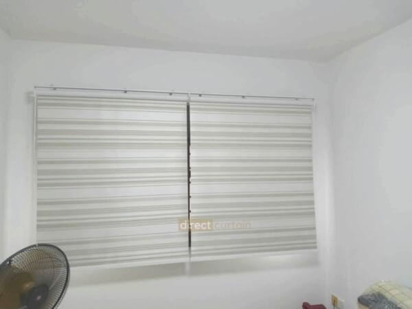 Indoor Roller Blind Premium California Blackout Beige colour under white light