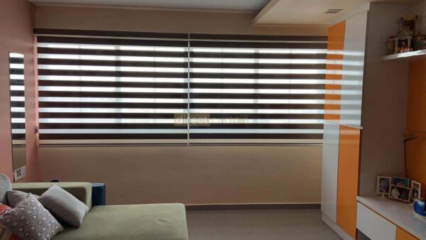 Korean Zebra Blind – Blackout Oxford Brown - Bedok Singapore