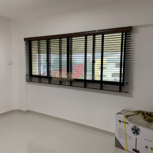 Fauxwood (PS) Venetian Blind – 50mm – Dark Wood Brown Jurong Singapore