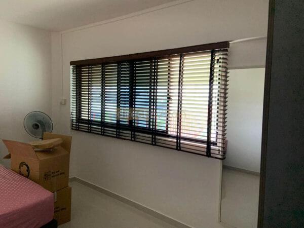 Fauxwood Polystyrene Venetian Blind – 50mm – Dark Wood Brown Jurong Singapore Bedroom