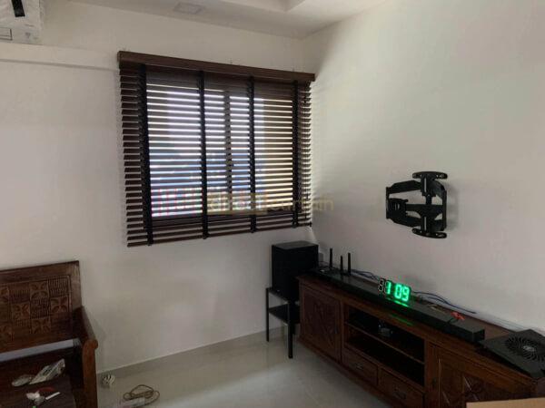 Fauxwood Polystyrene Venetian Blind – 50mm – Dark Wood Brown Jurong Singapore Family Room
