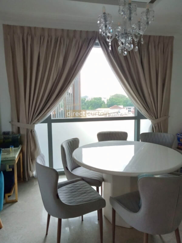 Dim-out Night Curtain - Dreamer Collection Beige under Natural Light - Dining Room Thomsom Grand Singapore