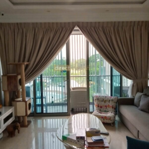 Dim-out Night Curtain - Dreamer Collection Beige under Natural Light - Living Room Thomsom Grand Singapore