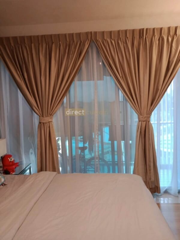 Dim-out Night Curtain - Dreamer Collection Beige under Warm Light - Master Bedroom Thomsom Grand Singapore