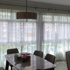 Dim-out Night Curtain – Light Gold in Living Room Layered with Day Curtain Art White