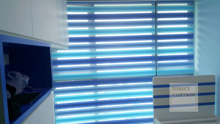 Blue Combi Blinds in Bedroom