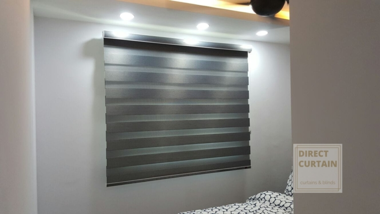 Grey Combi Blinds in Bedroom