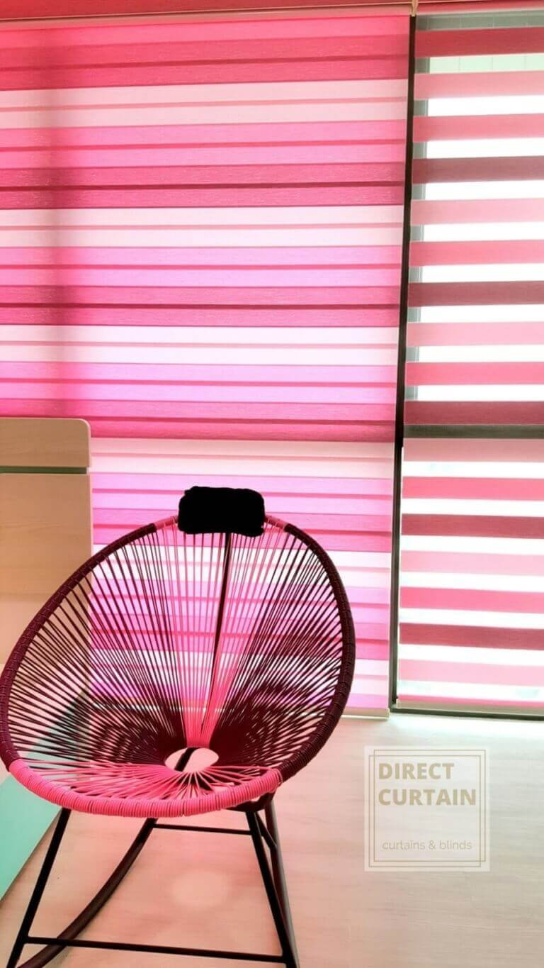 Pink Rainbow Blinds with matching Chair