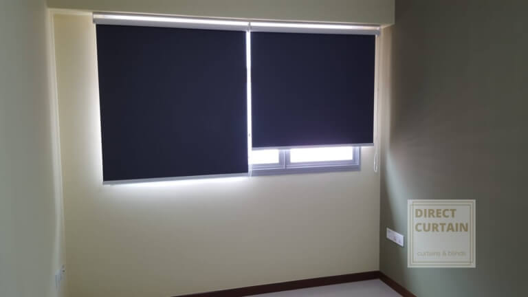 Dark Grey Roller Blinds in Bedroom