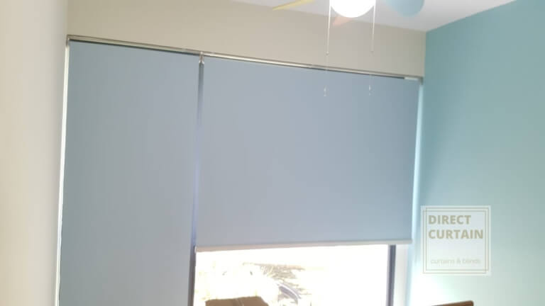 Light Blue Roller Blinds in Condo