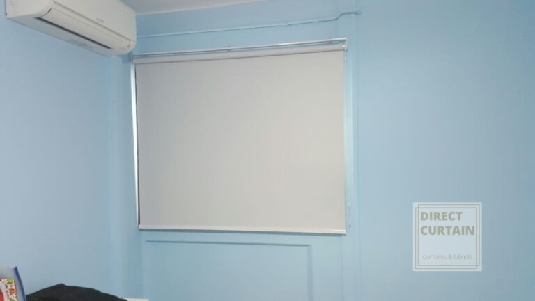 Light Grey Roller Blinds in Bedroom