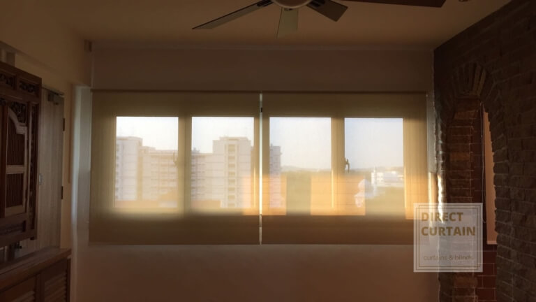 Roller Blinds against afternoon sun