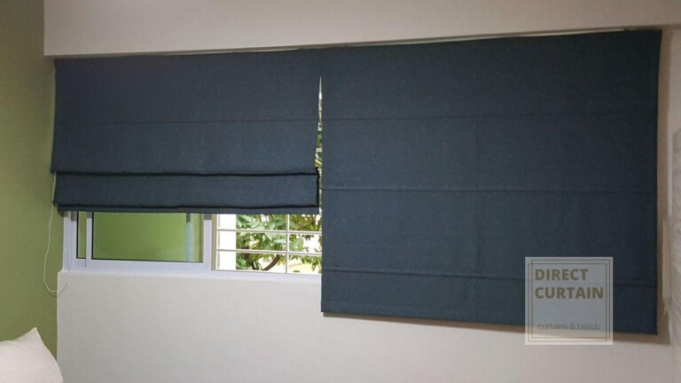 Roman Blinds in a Singapore Home Bedroom