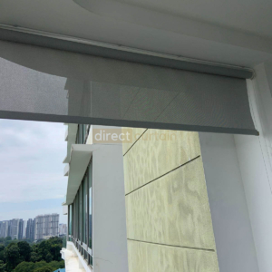 Outdoor Roller Blind Singapore - White Grey Rolled up - side wind guard